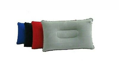 Inflatable Travel Pillows Camping Flocked Air Neck Rest Support Cushions x1 FINE