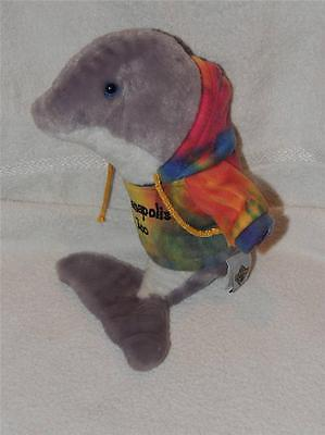 """Plush Petting Zoo Dolphin Porpoise wearing Indianapolis Zoo Tie Dyed Hoodie 12"""""""