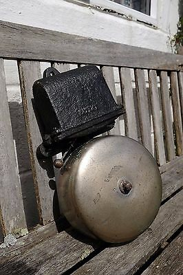 Unusual large cast iron and brass fire / train station industrial bell