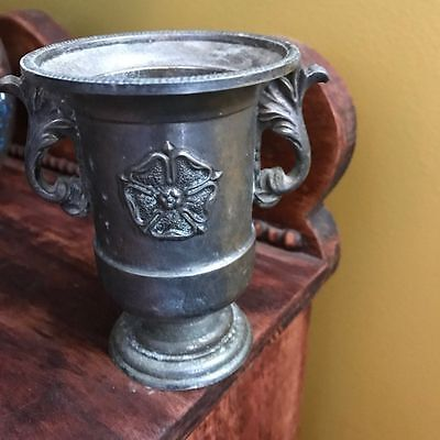 Antique Vintage Silver Plated England Candle Support Small Vase Trophy Chalice 9