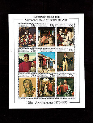 ST. VINCENT & THE GRENADINES 1996 #2261a/il MINI SHEET VF NH METROPOLITAN MUSEUM