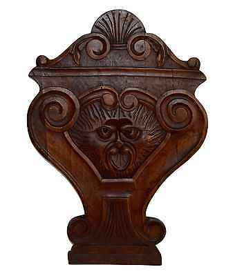 French Antique Hand Carved Furniture Ornament - Grotesque Animal Wood Panel