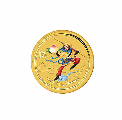 2016 $5 1/20oz Gold Australian Lunar Monkey King Colorized .9999 BU