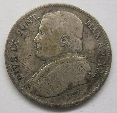 1865R Papal States Pius IX Vatican 20 Baiocchi.  See Details and Pictures