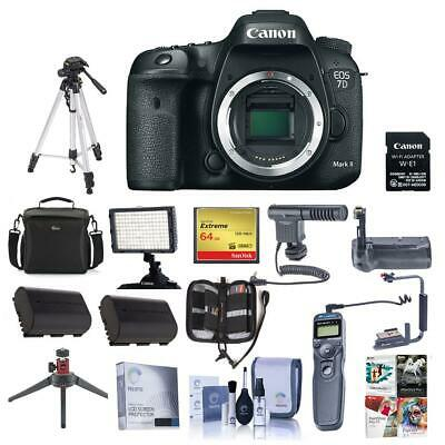 Canon EOS 7D Mark II DSLR Camera Body w/Wi-Fi Adapter Kit W/Pro Acc Bundle