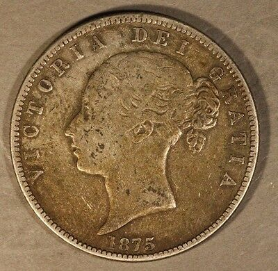 1875 Great Britain 1/2 Crown Victoria Circulated Silver ** FREE U.S. SHIPPING **