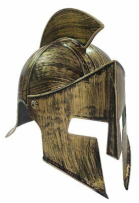Medieval Iron Knight Spartan Helmet Gold Bronze Roman Warrior Greek 300 Costume