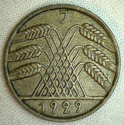 1929 J Germany-Weimar Republic 10 Reichspfennig KM#40 XF World Coin #P