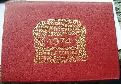 India 1974 Mint Proof Set of 10 Coins,With Silver Coin,Rare!
