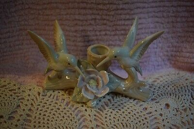 Otagiri Porcelain Dual Hummingbird Taper Candle Holder Made In Japan