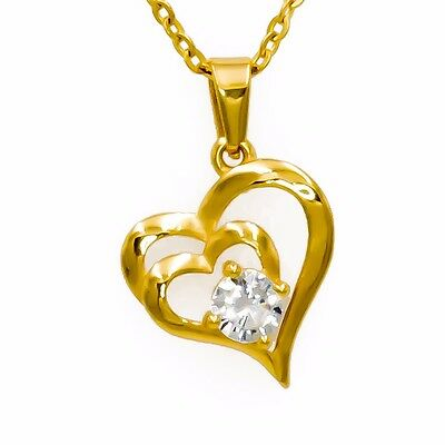 CHRISTMAS  Sales -  Double Heart Cubic Zirconia Pendant Necklace (Gold-Plated)