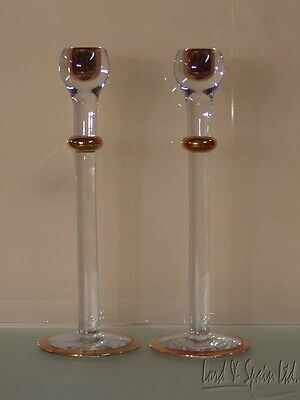 """Pair Orrefors CELEBRATION Gold 12 1/4"""" Candle Holders in Boxes"""