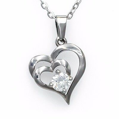 CHRISTMAS  Sales - Double Heart Cubic Zirconia Pendant Necklace Silver-Plated