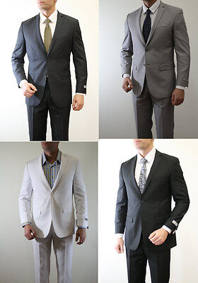 Men's Solid Modern Fit two Button Notch Lapel Jacket Flat Front Pants Suit
