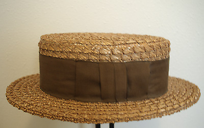 Magnificent Vintage 1930's Colonial Hat Co. Straw Boater Sz 7-1/2