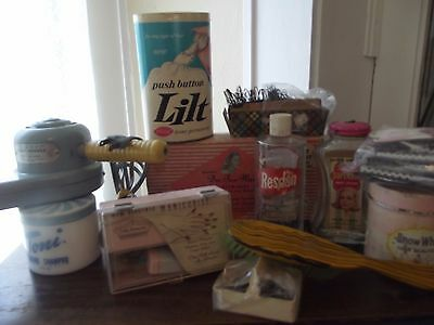 VTG~Lot~MID CENTURY~ Beauty Parlor/Hair Dressing Supplies~CURLERS~DRYER~ETC
