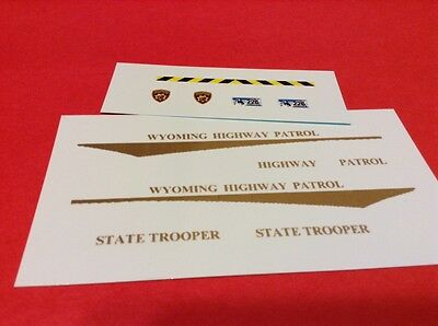 WYOMING HIGHWAY PATROL 1/25 - 1/24 scale police decals - CURRENT STYLE