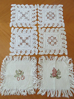 Antique Doilies Doily Coasters Linen Mats Needle Lace Embroidered Fringed