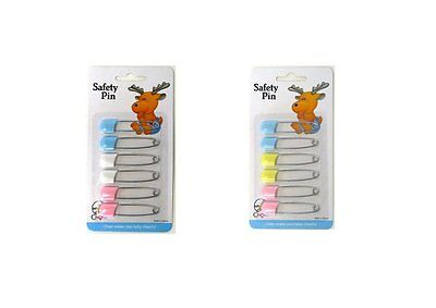 Baby Safety Pins x 6 Cloth Nappy Diaper Pin