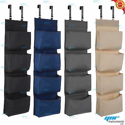 4 Tier Door Over Door Hanging Hook Organiser Shoes Storage Pockets Wardrobe Unit
