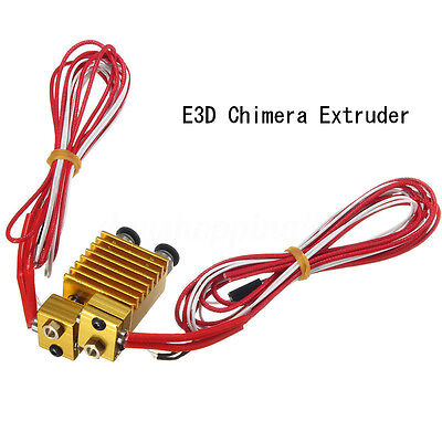 E3D Chimera Extruder with Wires Multi-extrusion E3D V6 Dual Head Extruder End HK