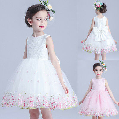 Girls Flower Lace Communion Party Prom Princess Pageant Bridesmaid Wedding Dress