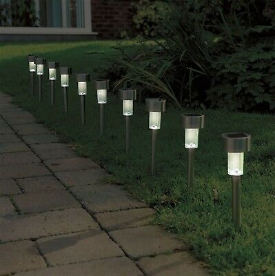 10 Pack Solar Power Stainless Steel Garden Pathway Patio Driveway Post Led Light