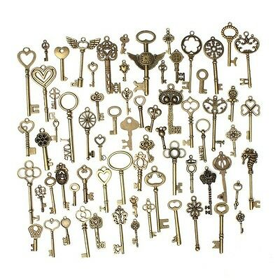 Antique Vintage Old Look Bronze Skeleton Keys Fancy Heart Bow Pendant Set of 69