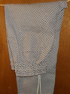 CHEF pants UTY APPAREL Black/White Checkered Pattern Baggies Elastic Waist Large