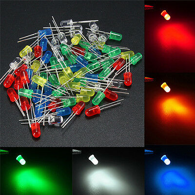 5mm 5 Colors Round Top Emitting Diode Clear/Color Diffused LED Light Kit
