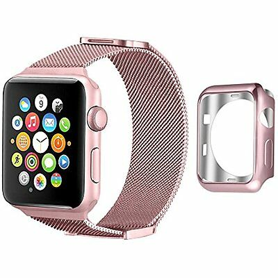 Stainless Steel Band Soft Case For Apple Watch IWatch 38mm Series 2 Rose Gold