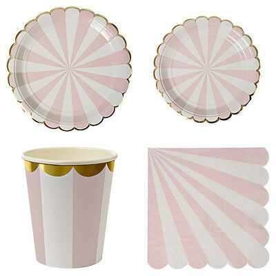 Pink Striped Paper Plates Cups Adults Kids Birthday Party Dinner Tableware