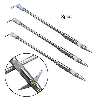 3X Fishing Arrowheads Harpoon Bullet Spear Prong Barbed Gig Tips Hunting Points