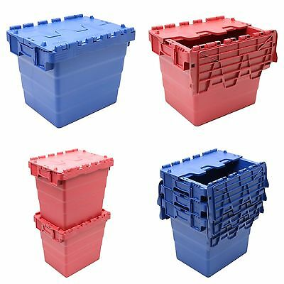 Heavy Duty Plastic Storage Box Boxes Crate & Folding Attached Lids Large Choice