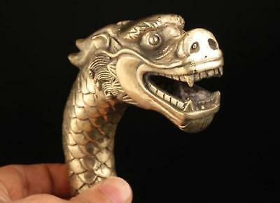 Lucky Collect Chinese Old Brass Carved Dragon Statue Cane Walking Stick Head
