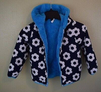 Hanna Andersson Seven Days a Week Jacket 110 4/6 Blue Fleece Flowers