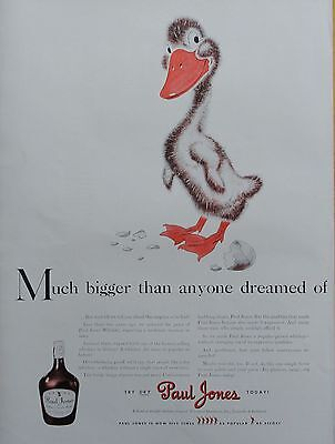 1941 ORIG PRINT AD PAUL JONES WHISKEY much bigger than dreamed, duckling, egg