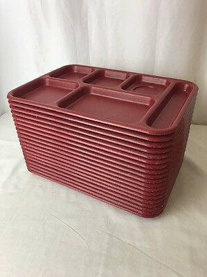 Lot 19 Melamine 6 Compartment Lunch Food Trays Red Cafeteria School Camping Vtg