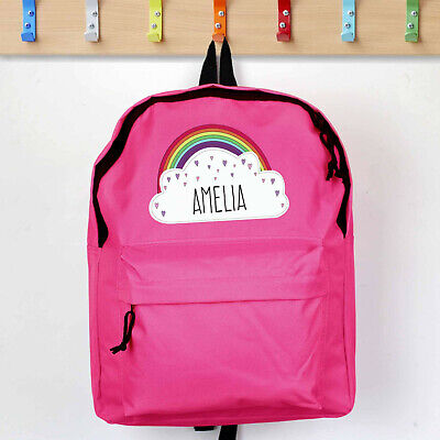 PERSONALISED Childrens Bag. GIRLS Pink School Rainbow BACKPACK. Rucksack, Kids