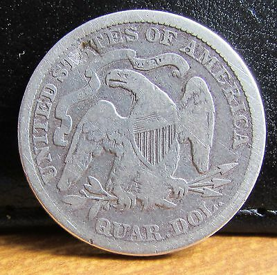 1876 Silver USA United States of America Seated Liberty Quarter Dollar Coin