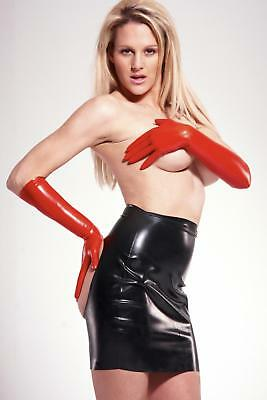 NEW Black Latex Rubber Female Open Back Lightweight Mini Skirt ONE SIZE