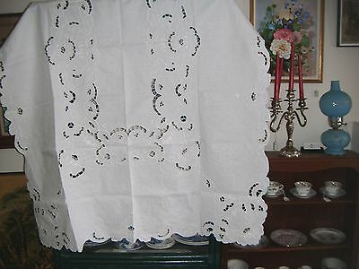 "54 x 72"" White Linen Tablecloth with Embroidery, Cutwork and Six Napkins"