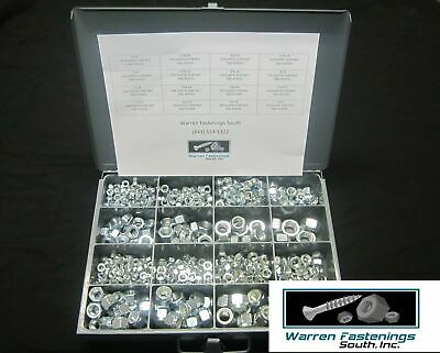 560 Piece Coarse & Fine Thread Nylon Lock Nut Assortment Zinc Plated