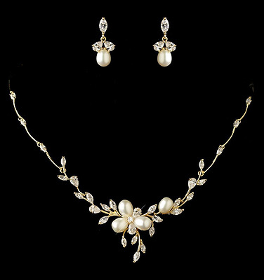 Gold Plated Freshwater Pearl and CZ Wedding Necklace Earring Bridal Jewelry Set