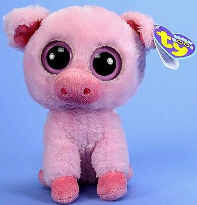 "Mwmt 6"" Ty Beanie Boo Corky The Pig- Solid Eyes- Purple Tag- Rare And Retired!"