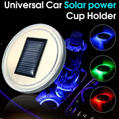 Solar Energy Car SUV Cup Holder Bottom Pad Mat Blue LED Light Cover Trim Lamp HK