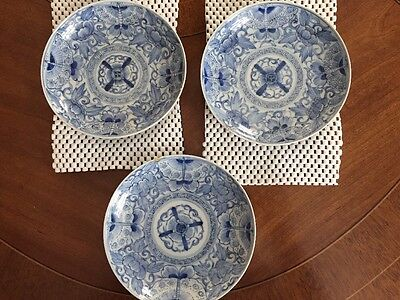 ANTIQUE . Japanese . BLUE and WHITE. Imari . 3 Plates