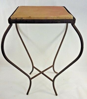 Vintage Wrought Iron Saltillo Tile Side End Patio Porch Table Rustic Primitive