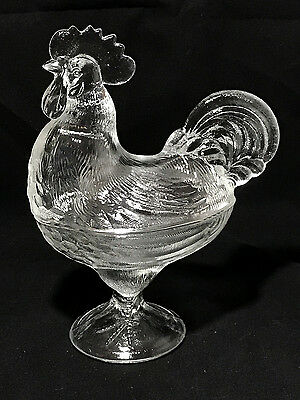 Heavy Glass STANDING ROOSTER CANDY DISH with LID Clear L.E. Smith Design EXC CND