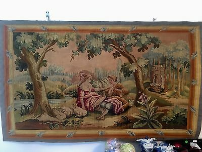 Vintage Antique Authentic French Tapestry Hand Stitched With Tag